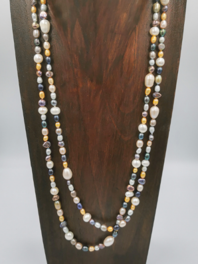 Multi-coloured freshwater pearl necklace