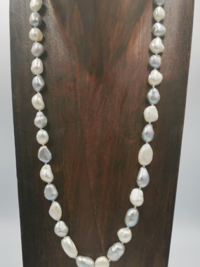 grey and white baroque freshwater pearl necklace