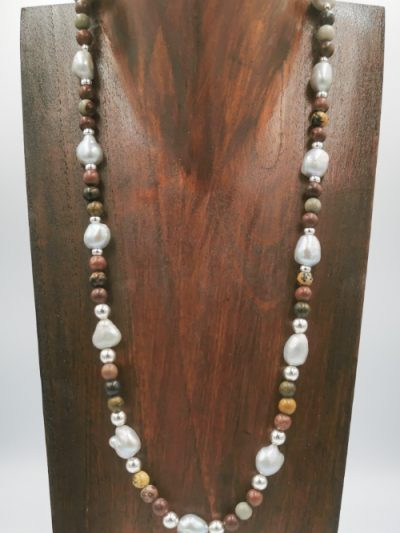 Exclusive freshwater pearl, jasper and sterling silver necklace