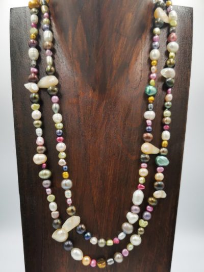 Long multi-coloured freshwater pearl necklace