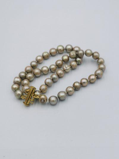 Double row light brown freshwater pearl bracelet