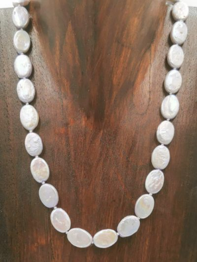 Pale purple oval coin freshwater pearl necklace