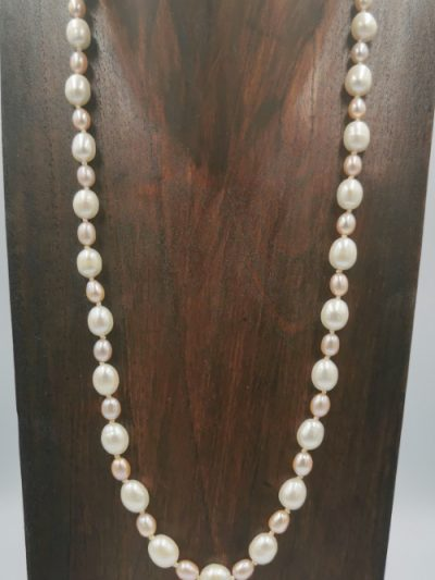 Pink and white oval freshwater pearl necklace