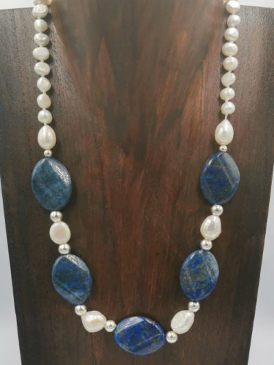 Freshwater pearl and lapis necklace