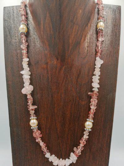 Rose quartz, strawberry quartz and freshwater pearl necklace