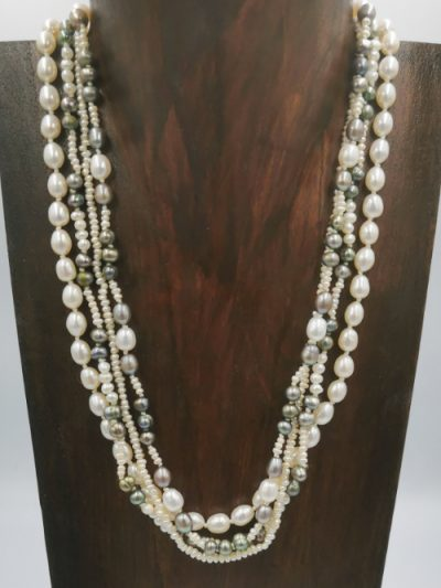 Exclusive four strand mixed freshwater pearl necklace