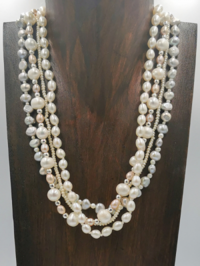 Exclusivefour strand freshwater pearl necklace