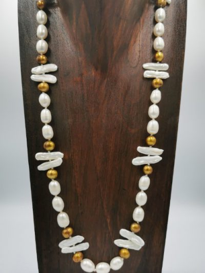 Exclusive gold-brown and white to off-white freshwater pearl necklace