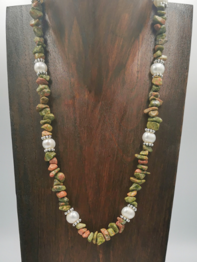 Exclusive unakite and freshwater pearl necklace