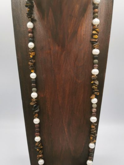 tiger's eye, jasper and freshwater pearl necklace