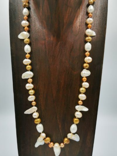 Exclusive gold-brown and cream freshwater pearl necklace