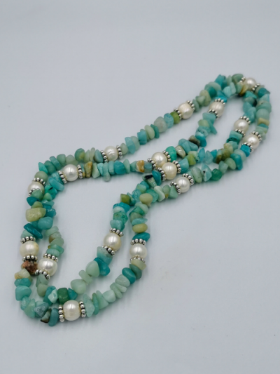 Exclusive amazonite and freshwater pearl necklace