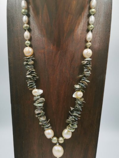 Exclusive grey, green and cream freshwater pearl necklace