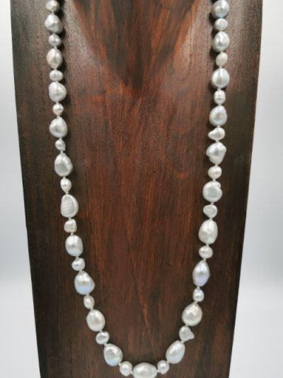 Silver-grey baroque freshwater pearl necklace