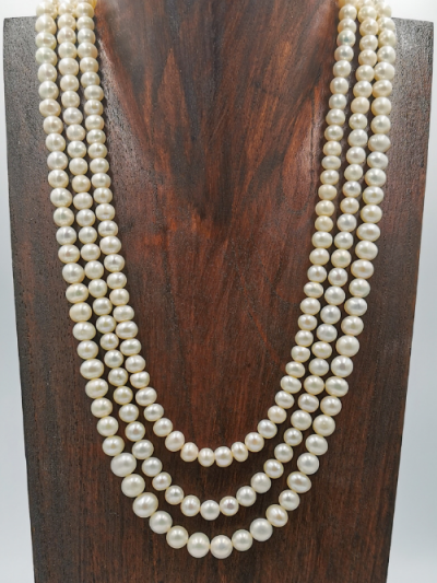 Exclusive three strand freshwater pearl necklace