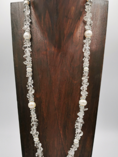 Clear quartz and freshwater pearl necklace