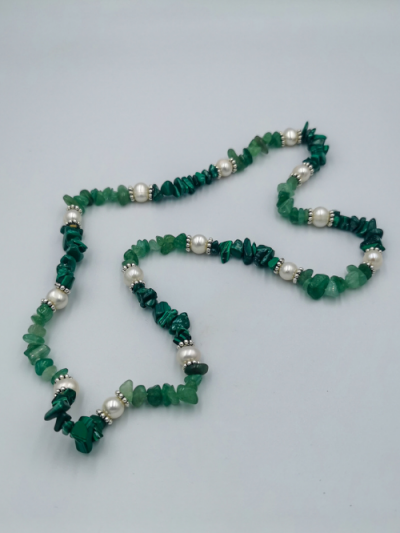 Exclusive malachite, green aventurine and freshwater pearl necklace