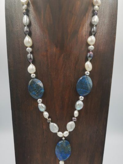 Exclusive freshwater pearl, lapis and sterling silver necklace
