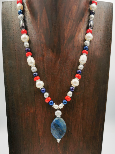 Exclusive lapis lazuli, coral and freshwater pearl necklace