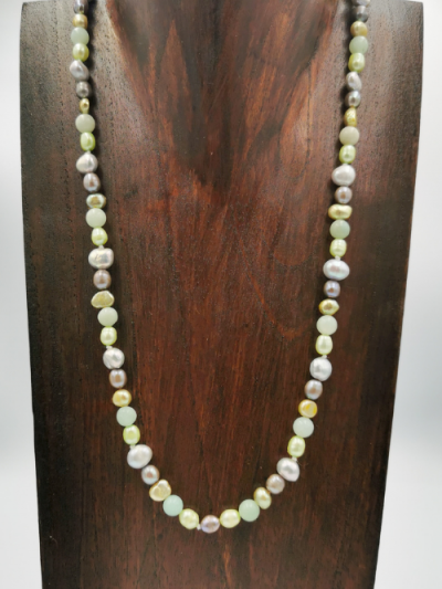 Exclusive amazonite, grey and green freshwater pearl necklace