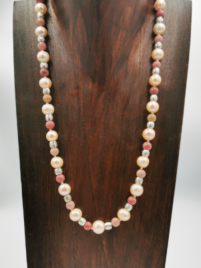 Exclusive rhodonite and pink freshwater pearl necklace