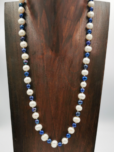 Blue and white freshwater pearl necklace