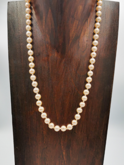Light apricot off-round freshwater pearl necklace