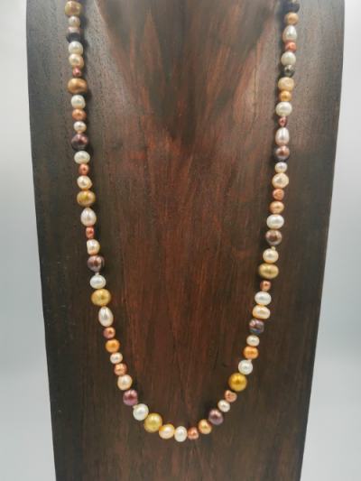 Strand of mixed multi-coloured freshwater pearls, with a gold-plated magnetic clasp. Total necklace length 55.5cm.